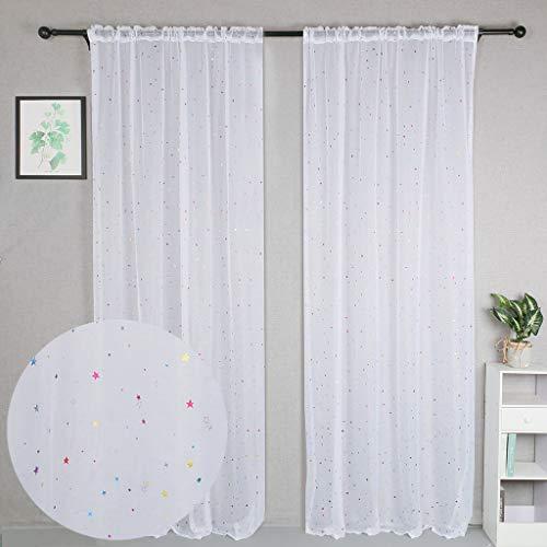 WUBODTI Vorhänge für Kinderzimmer, Weiß, durchscheinend, 2 Paneele, Stangentasche, Sternenfenster, Gardinen & Gardinen für Schlafzimmer, Wohnzimmer, Schiebetür, 213 cm lang