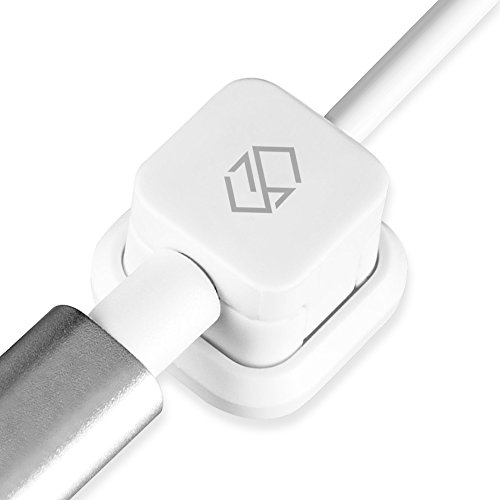 Sinjimoru Micro USB to USB Cable with Cable organizer for Android smartphones in 2.4A Fast Charging. Micro 5pin USB Cable with Magnetic Cable Holder White 1Pack.