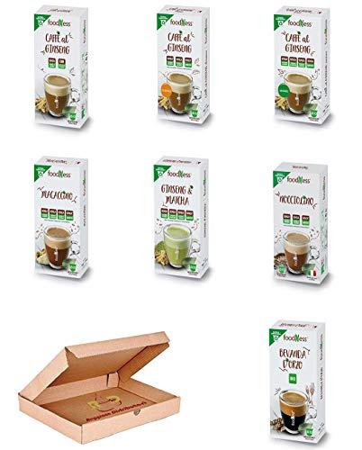 Foodness Capsule NESPRESSO Mix a Scelta ( 5 Box ) da 10 Capsule Ginseng con zucchero, Ginseng Classic, Amaro, Matcha, Mocaccino, Nocciolino, Orzo.