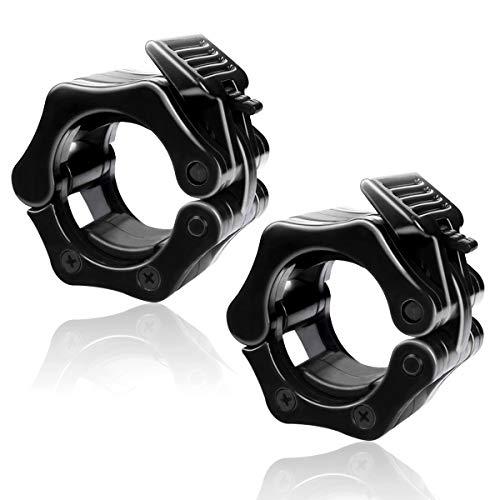 バーベルカラー 2個セット バーベルクリップ ダンベルカラー バーベルプレート止め シャフト用 スクリューシャフト対応 (ブラック, 50)