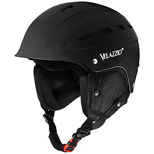 VELAZZIO Valiant Ski Helmet, Snowboard Helmet - (Black, M (21.3-22.8 inches))