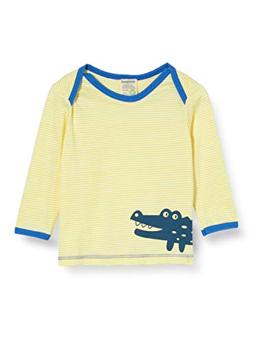 Loud + Proud Striped Shirt with Print Organic Cotton Manches Longues, Jaune (Lemon Lea), 74/80 Bébé garçon