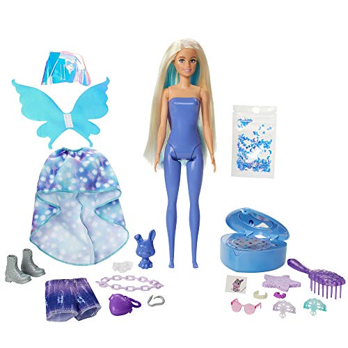 Barbie Color Reveal Peel Doll Set with 25 Surprises Including Blue Peel-Able Doll & Pet & 16 Mystery Bags with Clothes & Accessories for 2 Fairy-Inspired Looks; 4 Color-Change Features