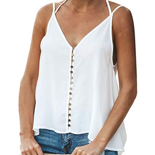only storerine 2019 Damen Weste, charmante und strenge V-Ausschnitt T-Shirt Button ärmellose Freizeithemd Weste