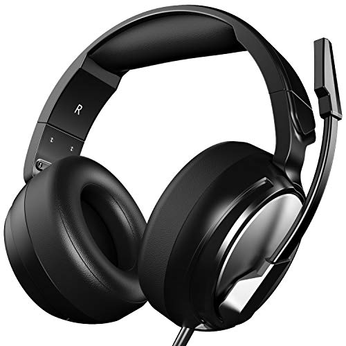 Gaming Headset for PS4, Xbox One, PC, Professional 50mm Driver, 3.5mm Surround Stereo Game Over Ear Headphones with Noise Cancelling Mic Volume Control for Nintendo Switch, Laptop iPad Video Game