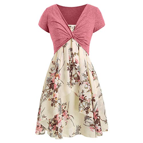 Women's Casual Dresses Summer Cami Floral Swing Loose Dress with Crop T-Shirt Tunic Suit 2 PCS Beige
