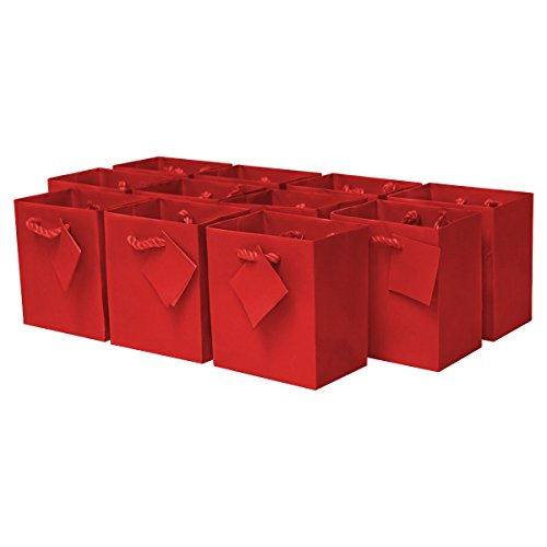 4x2.75x4.5' 12 Pcs. Extra Small Red Premium Quality Paper Gift Bags with Handles, Party Favor Bags for Birthday Parties, Weddings, Holidays and All Occasions