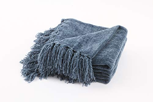 FRESHMINT Throw Blanket 60 x 50 Inch Thanksgiving Luxury Fluffy Chenille Knitted Blankets with Decorative Fringe and Striped for Home Decor Couch Cover Sofa Bed Gift, Blue