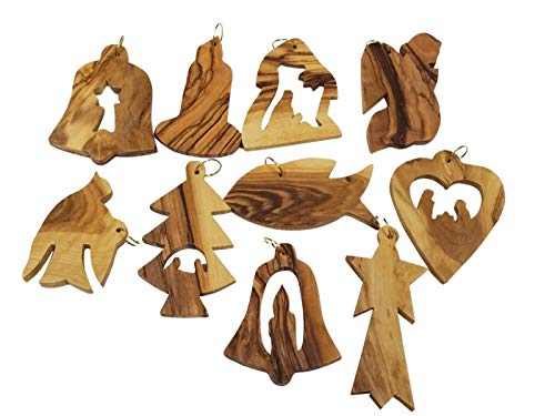 Made In Bethlehem 12 Olive Wood Christmas Ornaments