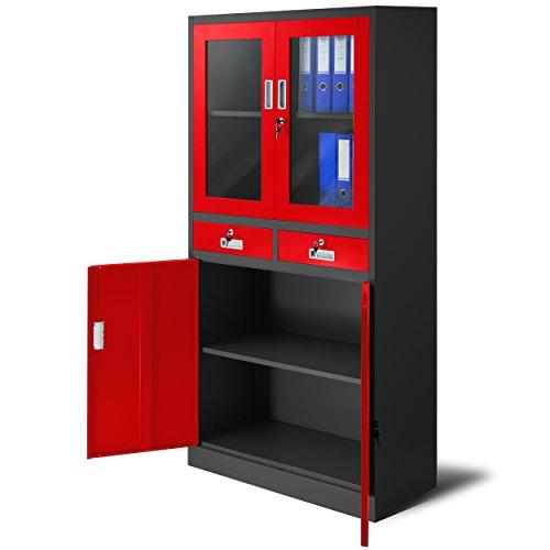 Jan Nowak by Domator24 Ufficio C017 con 2 cassetti Armadio metalico 2 Scomparti verniciatura a Polvere lamiera di Acciaio 185 cm x 90 cm x 40 cm (Antracite/Rosso), 185 cm x 90 cm x 40