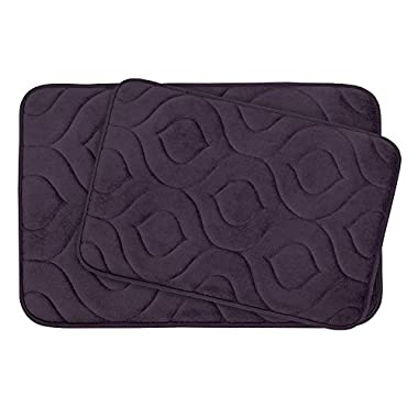 Bounce Comfort Naoli 2 Piece Micro Plush Memory Foam Bath Mat Set with BounceComfort Technology, 20 x 34  Plum (set of 2)