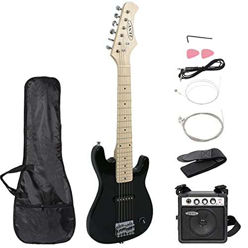 ZENY 30 inch Kids Electric Guitar with 5w Amp, Gig Bag, Strap, Cable, Strings and Picks Guitar Combo Accessory Kit (Black)