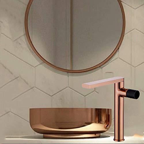 Grifo artístico de cobre dorado cepillado negro caliente y fría para lavabo sobre encimera de lavabo bajo encimera-oro rosa + negro alto