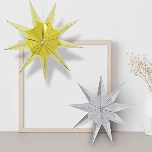KATELUO Linternas Papel Estrella,Estrella de Papel para decoración de 30 cm,Estrella de Papel para decoración navideña,Bodas, cumpleaños, Fiestas, Baby Showers, Fiestas navideñas. (Oro Plata)