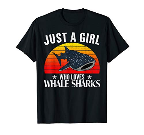 Retro Just A Girl Who Loves Whale Sharks Funny Women Gift T-Shirt