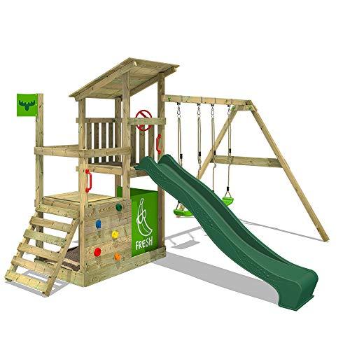 FATMOOSE Speeltoestel voor tuin FruityForest met schommel en groene glijbaan, Houten speeltuig, Speeltoren voor buiten met zandbak en klimladder voor kinderen