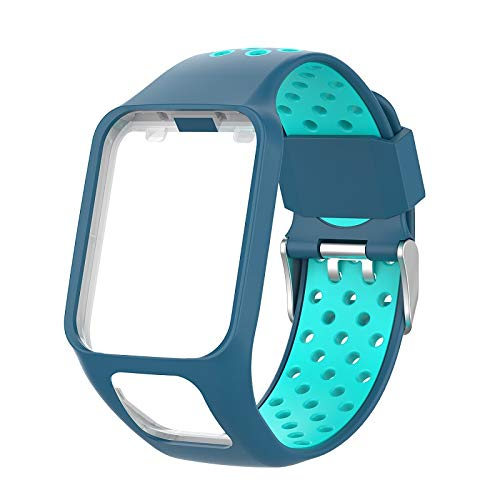 AKDSteel Replacement Silicone Pure Color Watch Strap for T-om-T-om Runner 2/3 Breathable Band for Golfer2 Adventunrer Universal Sport Smart Watch Wristband Watch Accessories Blue Convenient