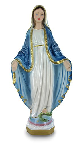 Ferrari & Arrighetti Estatua Virgen Milagrosa en Yeso Perlado Pintada a Mano - 30 cm