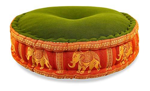 livasia Zafukissen Seide mit Kapokfüllung, Meditationskissen, Yogakissen, rundes Sitzkissen/Bodenkissen (grün-orange/Elefanten)