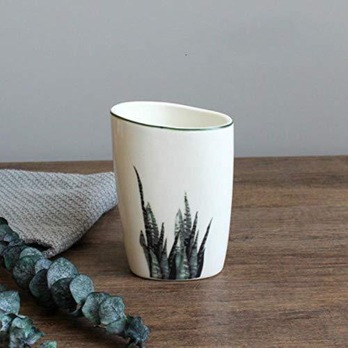 5-delige set Nordic groene plant keramische badkamer set lotion fles tandenborstel Cup badkamer accessoires zeep doos bruiloft cadeau F