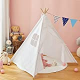 Kids Teepee Play Tent, Dripex Foldable Children Indian Wigwam Playhouse Tent for Boys and Girls, Tipi Tent for Indoor and Outdoor Game, Floor Mat not Included (White)