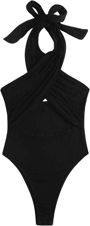 Verdusa Women's Cut Out Crisscross Tied Backless One Piece Halter Bodysuit