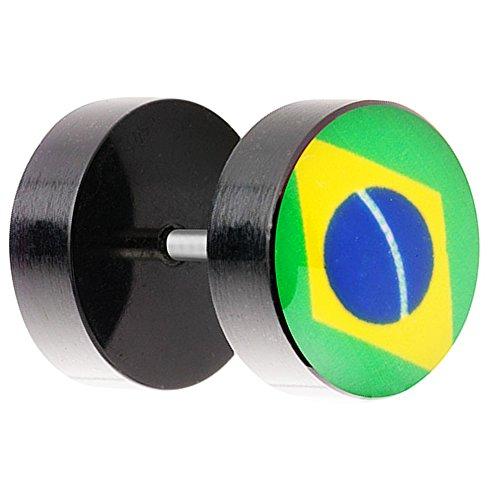 Piersando Ohrstecker Ohrringe Piercing Fake Ohr Plug Flesh Tunnel Fahne Motiv Fussball EM & WM Fanartikel Land Flagge Schmuck Brasilien 10mm