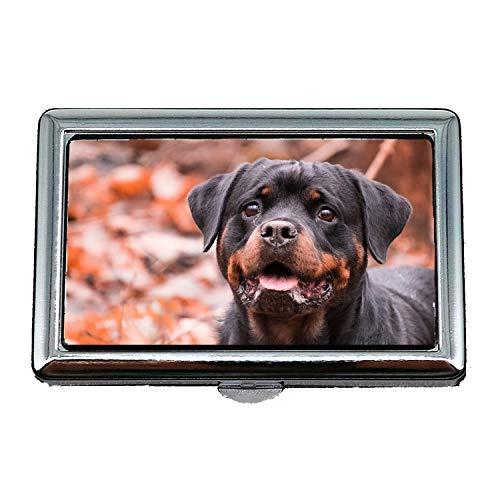 Zigarettenetui Box, Hund Portrait niedlichen Säugetier Tier Rottweiler, Visitenkartenetui Visitenkartenetui Edelstahl