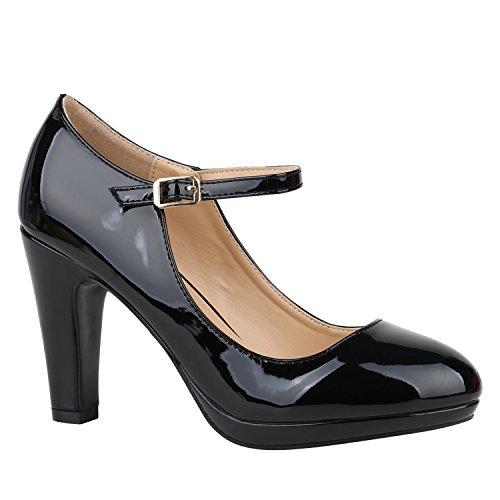 Damen Schuhe Pumps Mary Janes Veloursleder-Optik High Heels Blockabsatz 152429 Schwarz Lack Lack 41 Flandell