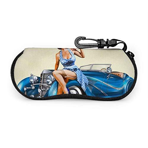ARRISLIFE Funda para gafas de sol de neopreno, fondo vintage, con diseño de chica pin-up y coche retro, con cremallera y clip para cinturón