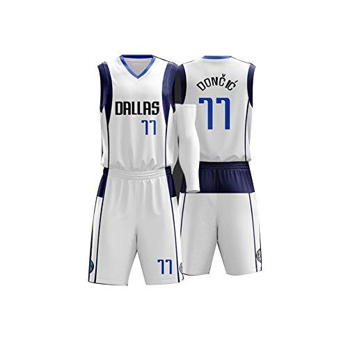 VNBA Mavericks Luka Doncic Basketball Trikot 77, Nr. 41 Dirk Nowitzki Nr. 1 Smith JR Polyester Atmungsaktives Fan Basketball Trikot und Shorts Set-White 77-L(160.165CM)