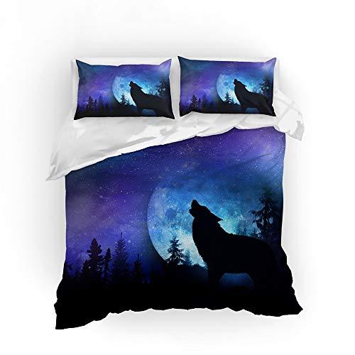 Beddengoed, abstract Starry Dierenwolf, bedrukt beddengoed, dekbedovertrekset, met kussenslopen, microvezel, tweepersoonsbed, voor mannen en vrouwen, tieners GB King 230cm×220cm
