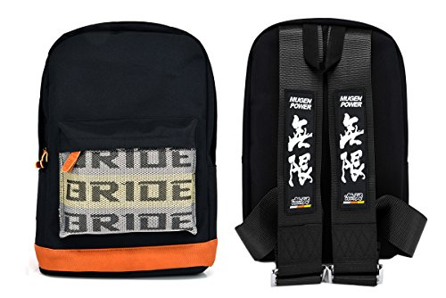 New Bride Racing Backpack with Mugen Power Racing Harness Shoulder Straps Black