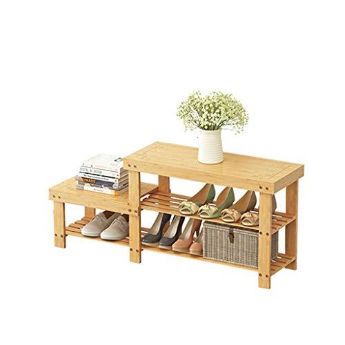 CWT Zapatos de bambú, Estante for Zapatos de Madera Maciza Taburete de Almacenamiento, Banco de Zapatos, Estante for Zapatos
