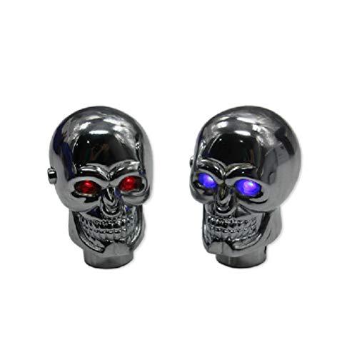 Schaltknauf totenkopf Skull Shape Universal Manuell Auto Schaltknauf Schaltkopf mit Led light für Schaltgetriebe (Rote LED)