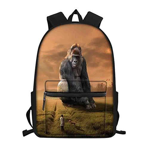 Zaino Scuola 3D gorilla Stampa,Zaino Bambini,Adatto a ragazzi e ragazze Per Scuola Camping Viaggi