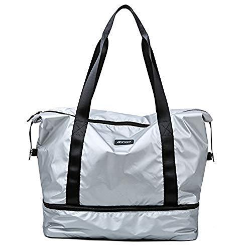 Maijia Turnbeutel Trocken Nass Separiert Sport Gym Duffle Reisetasche Training Handtasche Yoga Tasche für Damen und Herren (Silber)