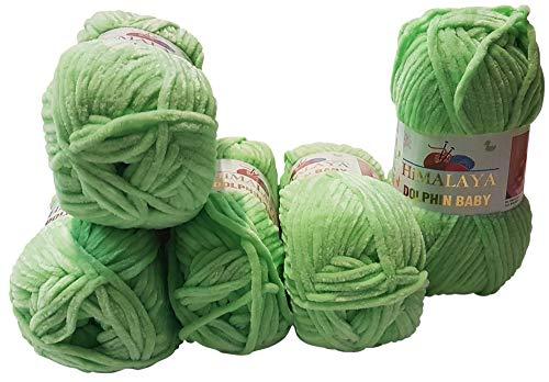 Himalaya 5 x 100 Gramm Dolphin Strickwolle, Babywolle, 500 Gramm Wolle Super Bulky (grün 80350)