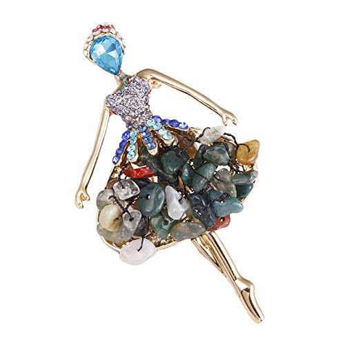 Da.Wa Green Delicate Dancer Elf Brooch Pin Gravel Covered Scarves Shawl Clip For Women Ladies