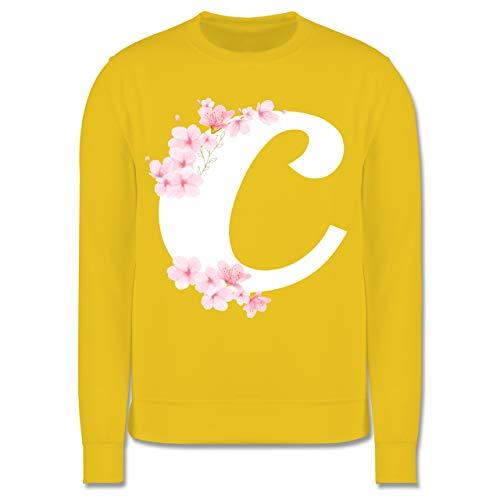 Shirtracer Anfangsbuchstaben Kind - Buchstabe C mit Kirschblüten - 140 (9/11 Jahre) - Gelb - Pullover - JH030K - Kinder Pullover