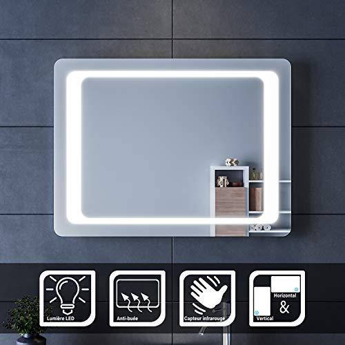 SIRHONA Espejo de Baño 60x80cm Espejo Baño Pared con Interruptor Sensor IR Espejo de Luz de Baño Espejo con Iluminación LED-Función de ANTIVAHO