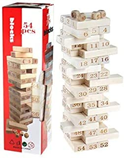 54 Pieces Tumbling Timbers Toppling Tower Wood Block Stacking Games Building Blocks Game for Kids,Adults,Build