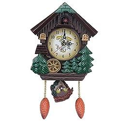 HUIHUI Wall Clock House Shape 8 Inches Cuckoo Clock Vintage Bird Bell Timer Living Room Pendulum Clock Craft Art Clock Home Deco for Office/Kitchen/Bedroom/School Decorative