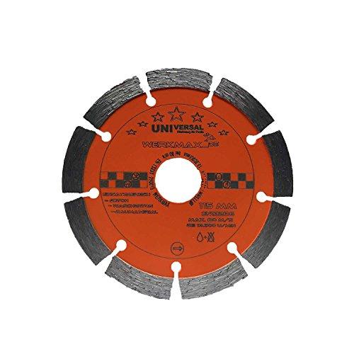 Diamanttrennscheibe Ø 115mm für Beton, Ziegel, Pflaster, Mauerwerk   Bohrung 22,2 mm für für Winkelschleifer   Unimax-115-22