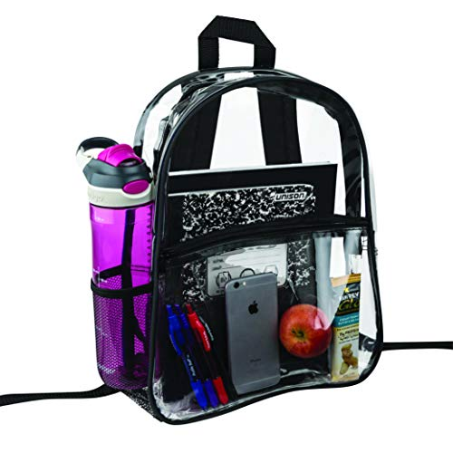 Clear Backpack Security Approved - Reinforced Straps & Front Accessory Pocket - Perfect for School...