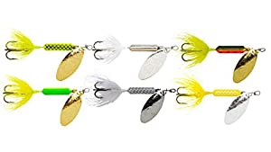 Yakima Bait Rooster Tail Trophy Pak 1/4oz Spinner Assortment (6 Pack) Multicolor