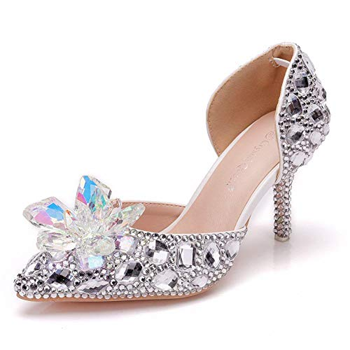 N / A - Zapatos de boda con diamantes de imitación de cristal, sandalias huecas de dos piezas, plata y diamantes blancos + flor de cristal colorida_37