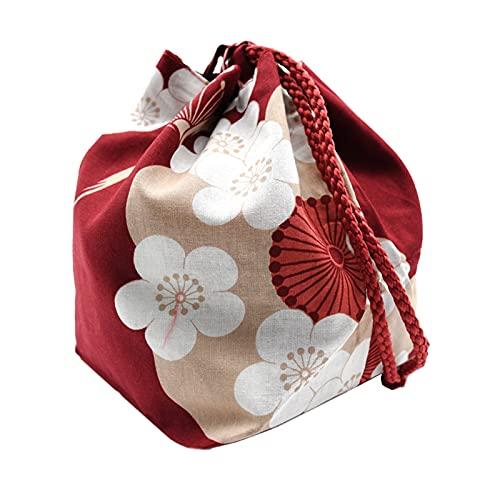 Sharplace Sac à Cordon Japonais Kawaii Paquet Mariage Cosplay Voyage cosmétique Porte-clés Porte-Monnaie Maison Sac à Lunch boîte à bento bacs de Stockage des - Vin Rouge