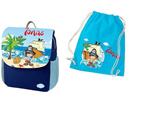 Mein Zwergenland Set 2 Kindergartenrucksack und Turnbeutel Happy Knirps Next Print mit Name Pirat, 2-teilig, Blau