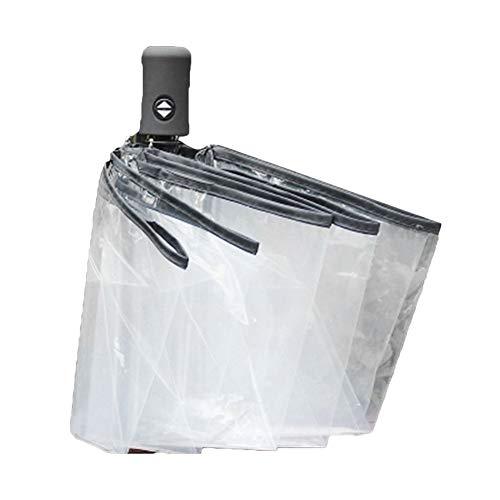 Paraguas compacto totalmente automático tres plegable transparente resistente al viento paraguas mujeres...
